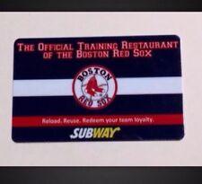 BOSTON RED SOX SUBWAY GIFT CARD, FENWAY PARK BASEBALL MLB