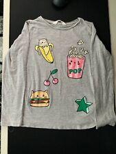 H&M Kids Girls T Shirt Long Sleeve Gray Grey Cat Banana Kitten Kids Size 6-8