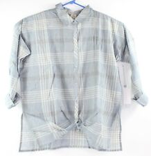 Oneill Womens Size XL Extra Large Blue Plaid Arlow Wooven Top New with $54 Tags