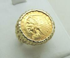 Genuine 1910 $ 2 1/2 Dollar Indian Head Gold Coin Ring with 14k Mount Size 7