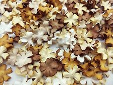 50 Mixed Brown Tone & White Flowers mulberry paper for Craft & D.I.Y