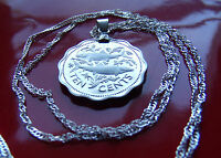"""Bahamas Two Fish Pride Proof Coin Pendant on a 18"""" 925 Silver Wavy Twist Chain"""