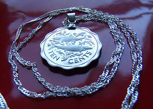 """Bahamas Two Bone Fish Proof Coin Pendant on a 18"""" 925 Silver Wavy Twist Chain"""