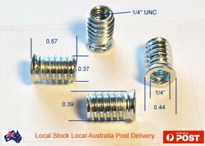 1/4 UNC 15mm Hard Wood Timber Threaded Flange Zinc Plated Steel Insert Hex Nut