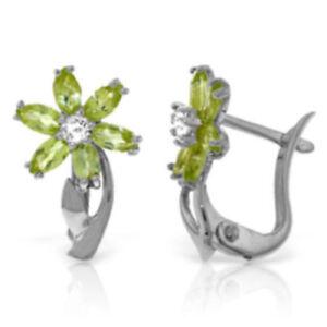 Genuine Peridot Gems & Diamonds Flower Leverback Studs 14K. Solid Gold Earrings