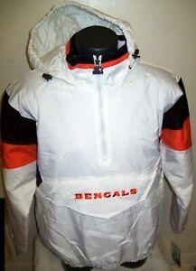 CINCINNATI BENGALS NFL Starter Hooded Half Zip Pullover Jacket  L XL 2X  WHITE