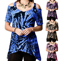 Plus Size Women Cold Shoulder T Shirt Ladies Summer Loose Tunic Blouse Tee Tops
