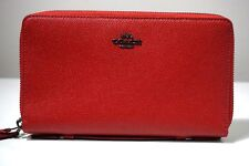 Coach True Red Leather Double Zip Travel Organizer Wallet F23334