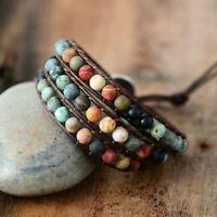 Retro Leather Bracelet Natural Stone Strand Wrap Woven Multilayer Boho Jewelry