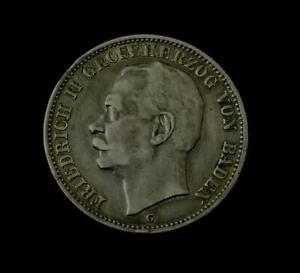 1908 G Friedrich II Grossherzog Von Baden 3-Drei Mark .900 Silver Eagle w/ Crown