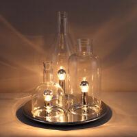 Modern Three Light Creative Wine Bottle & Round Metal Tray Base Table Desk Lamp