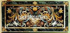 4'x2' Scagliola Art Green Marble Dining Table Real Top Inlay Outdoor Decor H3352