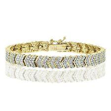 18K Gold Tone 0.25ct Natural Diamond Chevron Tennis Tennis Bracelet in Brass