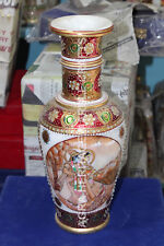 "14"" Marble Flower Vase Radha krishna Hand Painted Traditional Design Decor H5745"