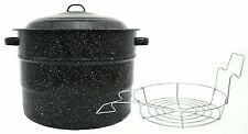NEW Steel/Porcelain Water-Bath Canner W/ Rack 21.5 Qt Dishwasher Safe USA Made