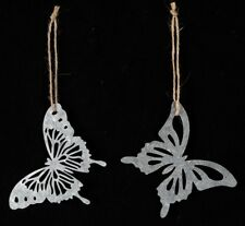 Pack of 2 Hanging Mini Silver / Grey Metal Butterflies indoor/outdoor Very Cute