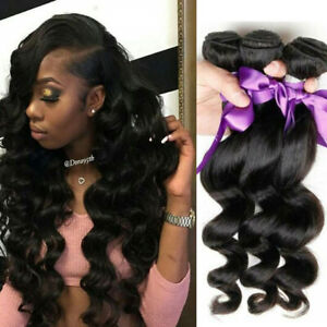 "4/3/1 Bundles 8""-30"" Brazilian Loose Wave Human Hair Extensions Weaves Weft"
