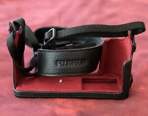 Genuine Fuji black leather half-case for Fujifilm XT-3. Boxed, never used.