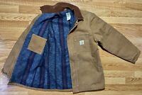 Vintage Carhartt Blanket Lined Duck Canvas Jacket Men's 44 L Tan Faded USA Made