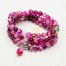 Fashion pink striped agate stone bracelet 6MM 108 Buddhism energy