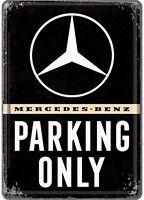 Mercedes Benz Parking Only Metall Postkarte/Blechpostkarte 155mm x 105mm (NA)