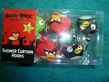 "COLORFUL ""ANGRY BIRDS"" DECORATIVE SHOWER CURTAIN HOOKS, 12 PER BOX, NEW"