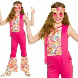 Hippie Disfraz Niña 70s 60s Groovy de Moda Hippy Infantil Niños Años 3-13