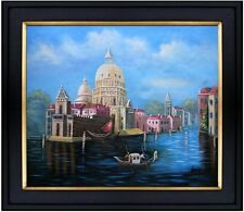 Framed Venice Waterway with a Gondola, Hand Painted Oil Painting 20x24in