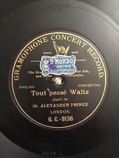"""78 RPM 10"""" ONE SIDED BLACK G&T ALEXANDER PRINCE TOUT PASSE' WALTZ ENGLISH CONCER"""
