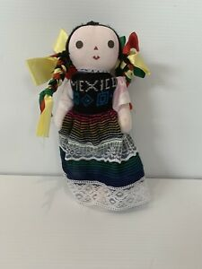 Mexican Doll Traditional Lele Doll Cute Mexican Rag Doll Handmade 28cm RARE