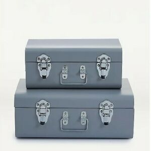 2 x Grey Metal Trunk Set Storage Chest Furniture Room Office
