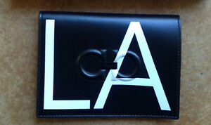 New Salvatore Ferragamo Men's City LA Leather Passport Holder, Black