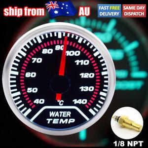 "Car 52mm 2"" Water Temp Gauge Illuminated Red Needle 12V Kit 1/8NPT Universal AU"