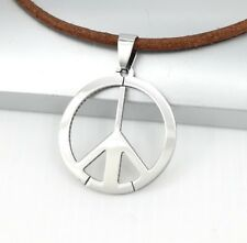 Silver Woodstock Hippie Retro Peace Sign Symbol Pendant Brown Leather Necklace