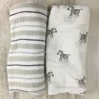 Lot 2 Swaddle Designs Amazing Baby Infant Blanket Unisex Muslin Receiving Zebra