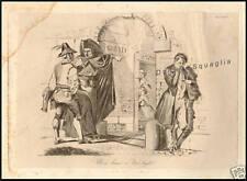 INCISIONE SATIRICA ORIGINALE 1800 GHETTO EBRAICO ROMA