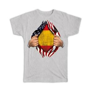 Gift T-Shirt : Spain Flag USA American Chest Spanish Expat Country