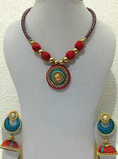 Bollywood fashion jewellery silky thready necklace and jhumki