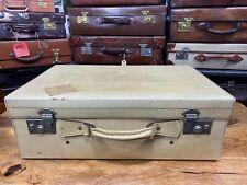 beautiful cream vintage vellum leather travel suitcase with silk lining