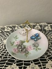 Shabby Pale Pink Blue Floral Trinket Tray Vintage Johnson Bros Plate Stand Set