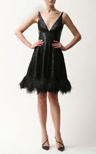 :) Naeem Khan Linear Beaded Black Dress With Feather Trim NWT 8  $5900