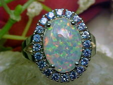 2 CT Oval Cut Fire Opal 14k Solid White Gold Over Tanzanite Halo Engagement Ring