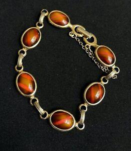 "Vintage SARAH COVENTRY Gold Tone Brown Glass Bracelet SIGNED 7 1/2"" M03"
