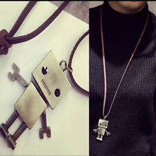 Cool Robot Pendant Necklace Bronze Sweater Long Chain Jewelry As A Good Gift