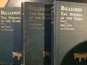 Billiards The Strokes of the Game. Set of 3 By Riso Levi. Early 1900s H/Bs.