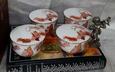 Vintage Japanese Kutani Red Orange Tea Cups with Gold Trim - Four