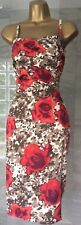 Immaculate Vintage Karen Millen Floral Rose Print Wiggle Pencil Dress Size 8