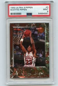 1992-93 FLEER ULTRA #3 SCOTTIE PIPPEN AUTOGRAPH, CHICAGO BULLS HOF, PSA 9 MINT