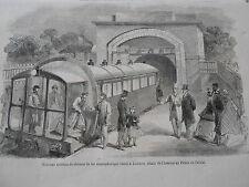 Gravure 1864 - Système de Chemin de Fer atmosphérique établi à Londres