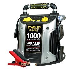 Stanley 1000-Peak Amp Car Auto Battery Jump Starter Built in Compressor Cables